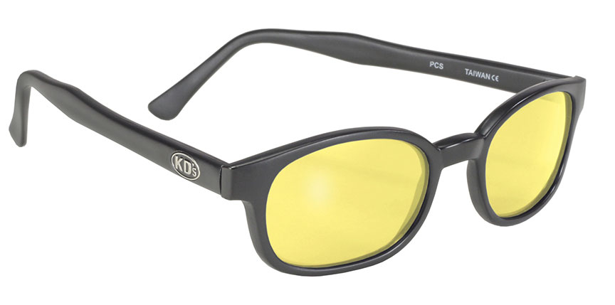 X - KDs - 11112 Matte Black/Yellow Lens motorcycle cycle sunglasses, yellow lens, biker shades, sons of anarchy, matte black frame, flat black frame, satin finish frame, not shiny
