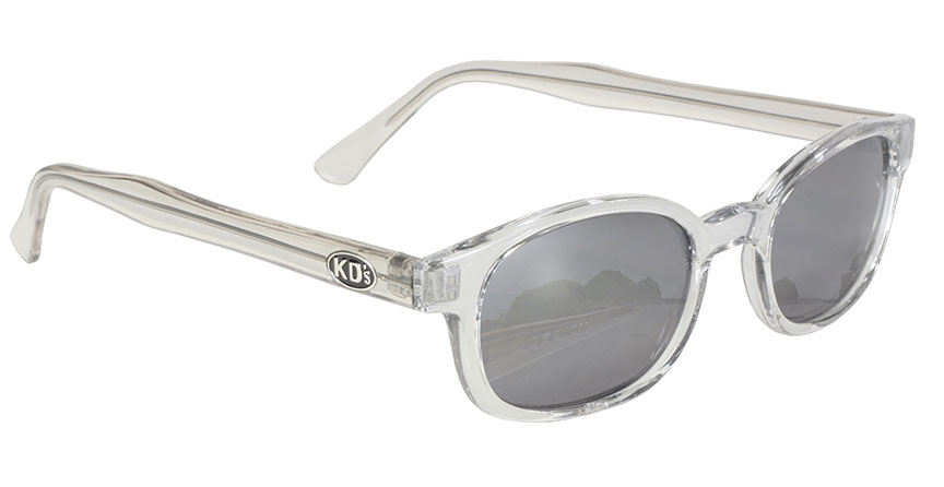 Chill KDs - 2200 Clear Frame/Silver Mirror KDs, The Original KDs KD sunglasses, biker sunglasses, motorcycle sunglasses