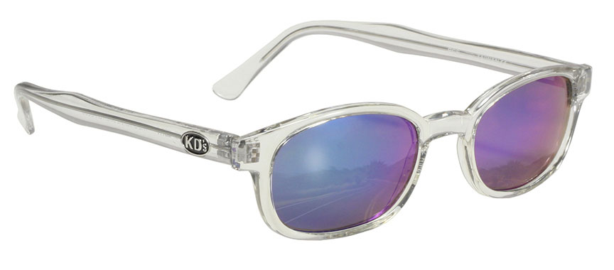 Chill KDs - 22018 Clear Frame/Colored Mirror Lens KDs, The Original KDs KD sunglasses, biker sunglasses, motorcycle sunglasses