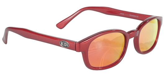 X - KDs - 10124 - Fire Red Sunglasses, Fire KD Sunglasses, Red Mirror Lenses, Motorcycle Mirror Sunglasses, Mirror Lenses