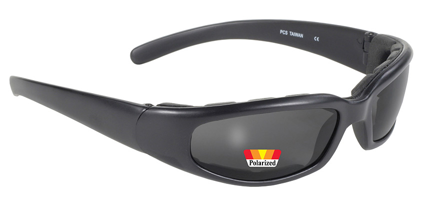Rally 43019 - Matte Black Frame with Polarized Grey Lens Padded Grey Polarized Lenses | Padded Frame with Grey Polarized Lenses | Padded Motorcycle Sunglasses | Perfect Size Frame