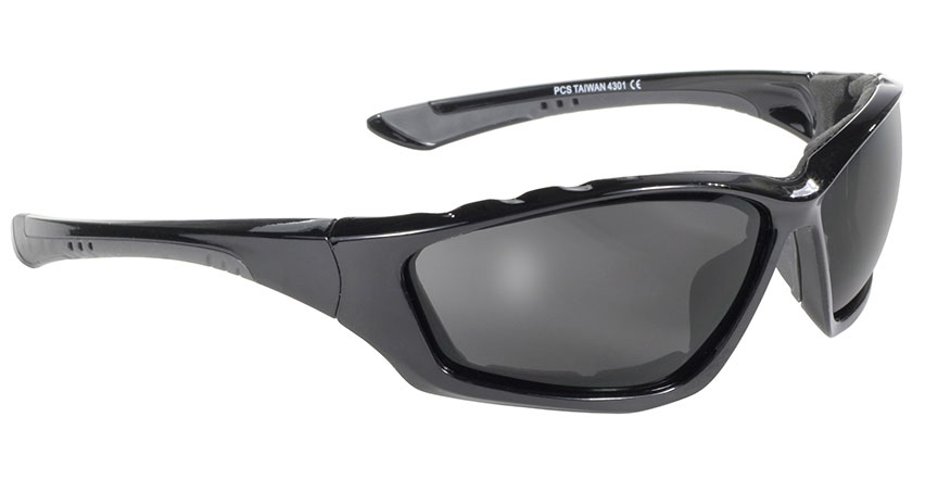 Kickstart - Smoke/Black Padded motorcycle sunglasses, Kickstart Padded, Black padded motorcycle wrap sunglass, dark smoke lenses, mens padded motorcycle sunglasses