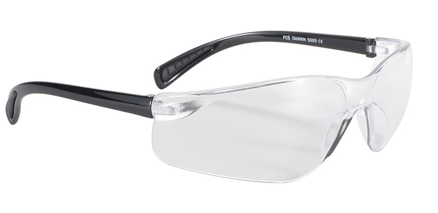 Spoiler - Clear/Black safety glasses, clear safety glasses, wrap clear lens sunglasses, polycarbonate lenses, skinny arms sunglasses